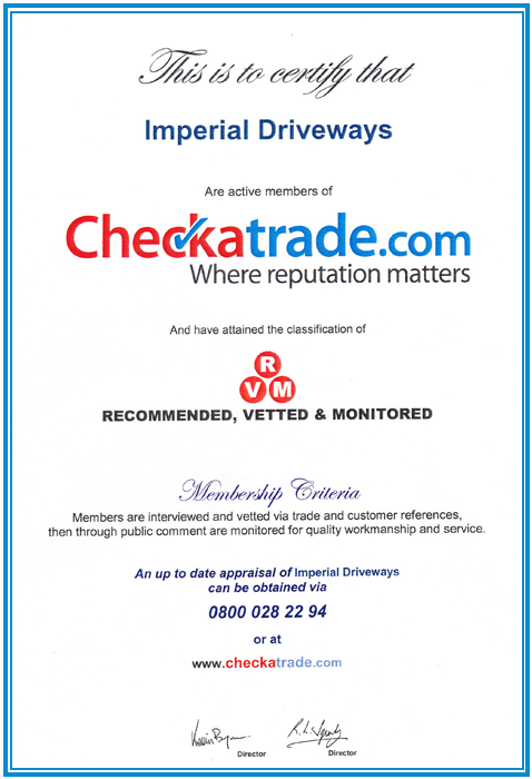 Imperial Driveways  - Approval Certificate