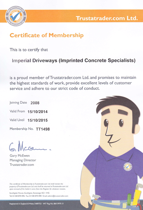 Imperial Driveways - Certificate Of Membership
